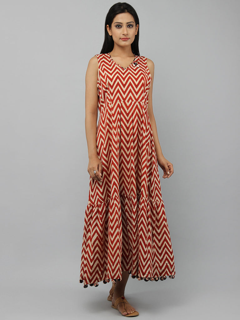 Rust Beige Hand Block Printed Cotton Maxi Dress