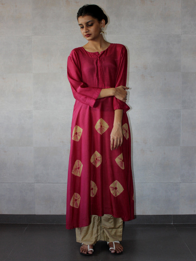 Rust Pink Beige Cotton Silk Yoke Bandhej Dress