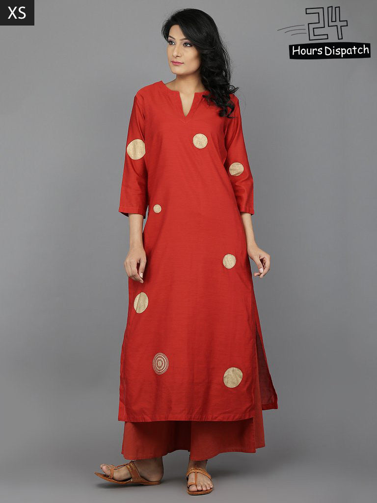 Rust Block Printed Chanderi Kurta with Cotton Slip