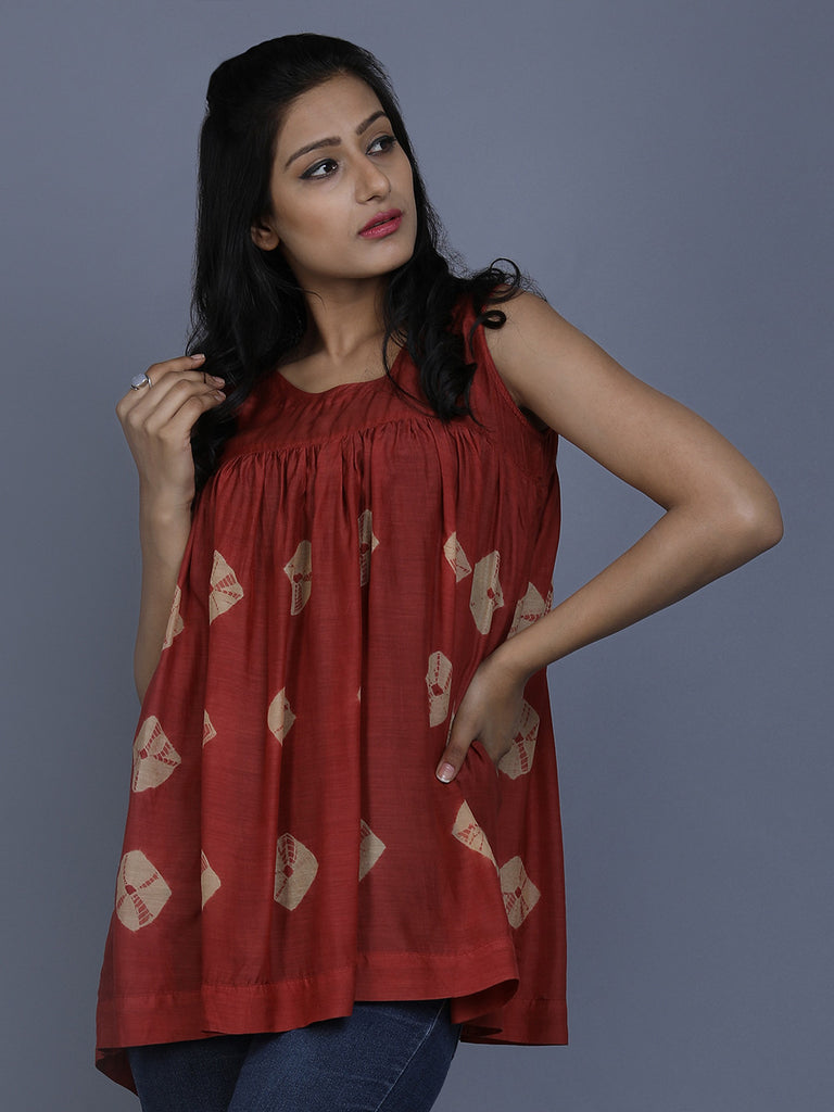 Rust Cotton Silk Bandhej Top