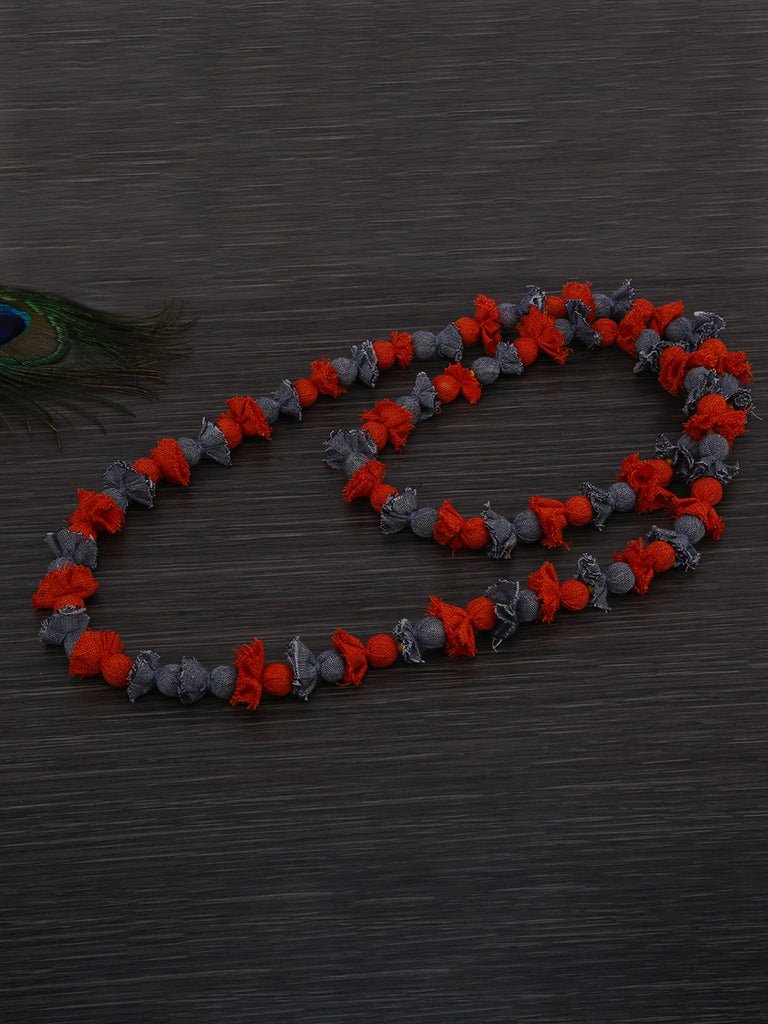Rust Grey Cotton Fabric Beads Necklace