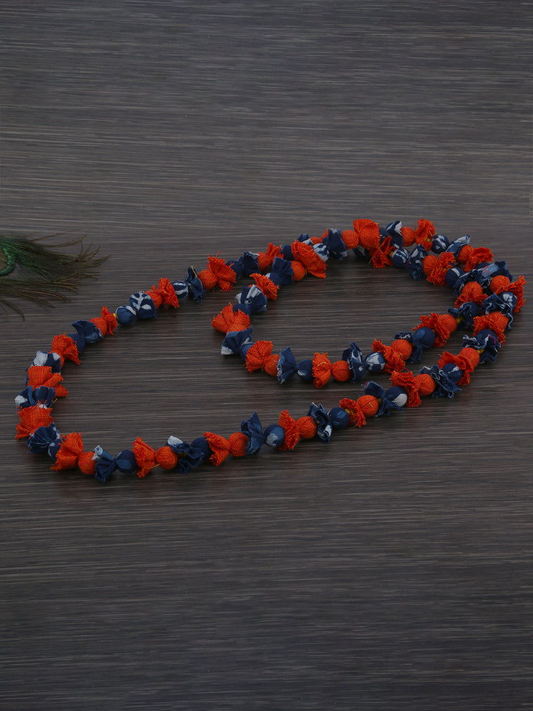 Rust Indigo Cotton Fabric Beads Necklace