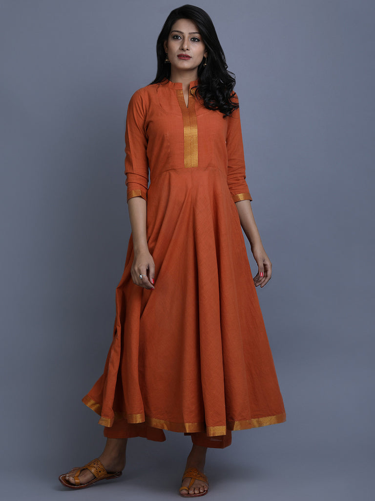 Rust Mangalgiri Cotton Anarkali