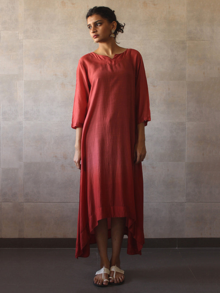 Rust Red Ombre Cotton Silk Tunic