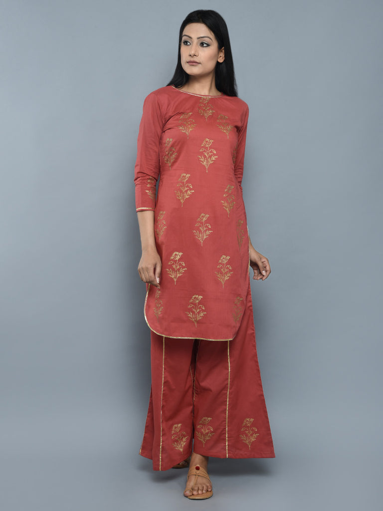 Rust Orange Mughal Hand Block Printed Cotton Kurta