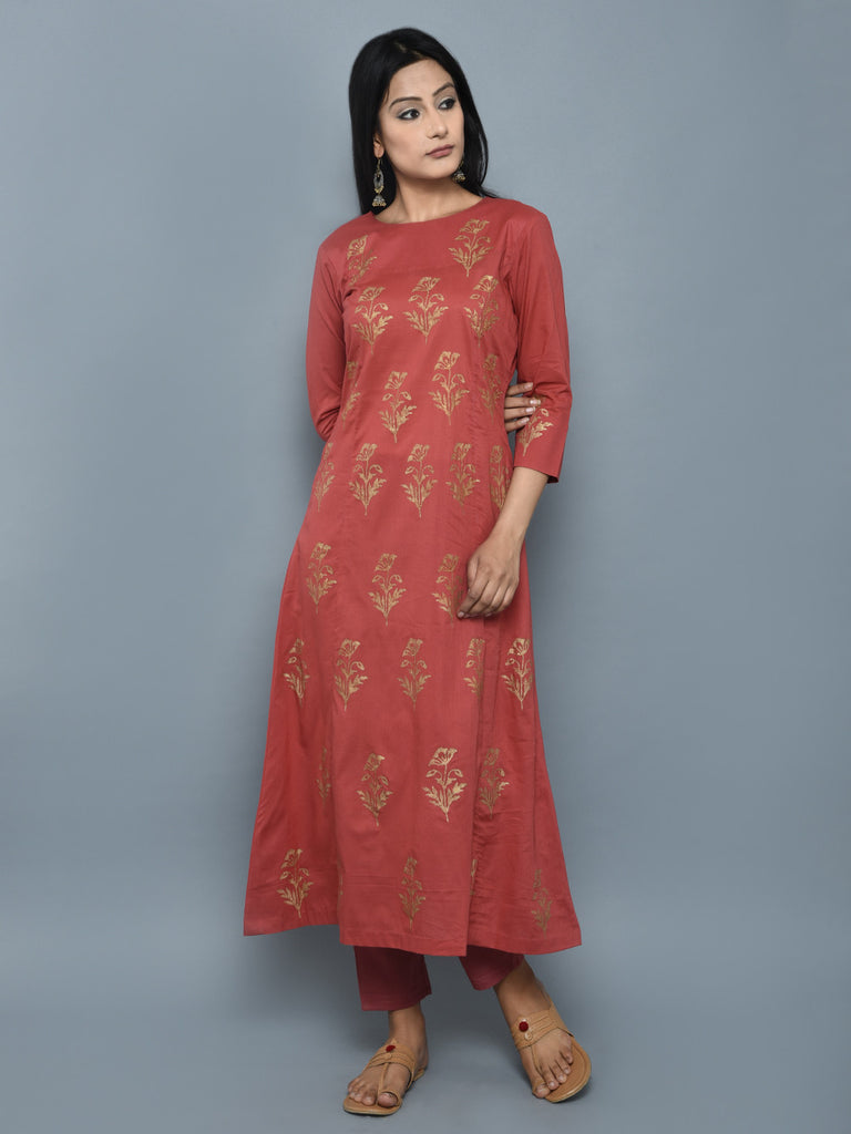 Rust Orange Block Printing  A Line Cotton Kurta