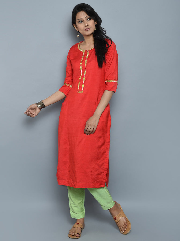Rust Orange Khadi Cotton Silk Hand Embroidered Kurta