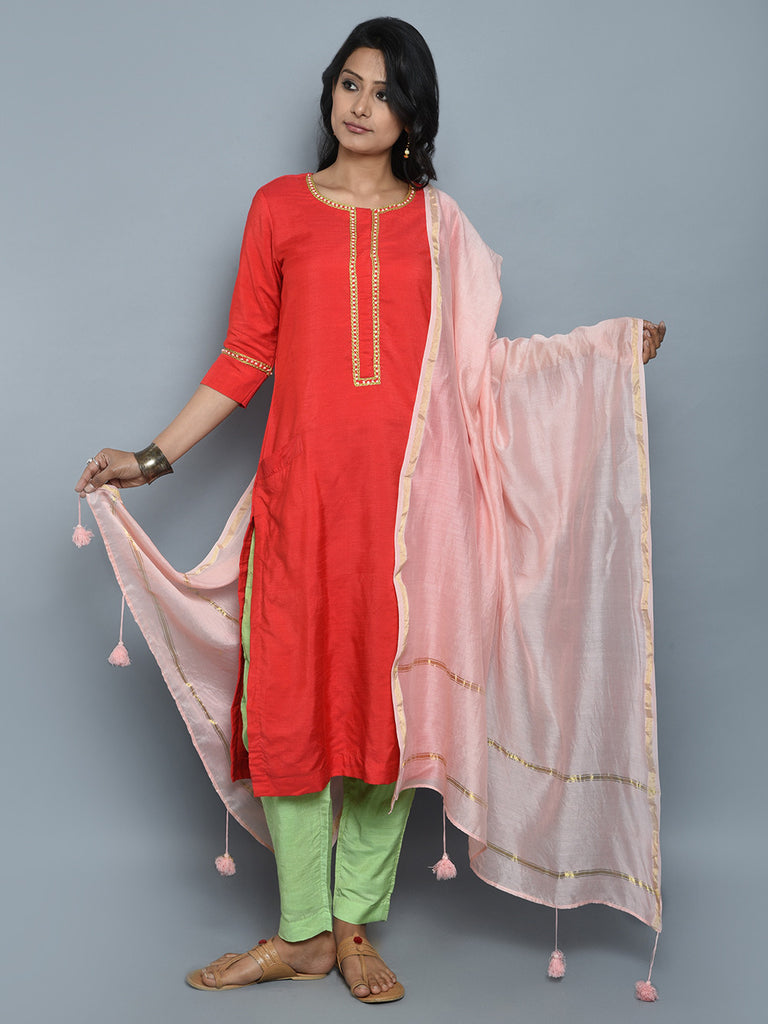 Orange Pista Green Pink Khadi Cotton Silk Suit - Set of 3