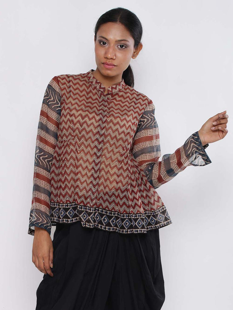 Rust Black Cotton Angrakhi Top