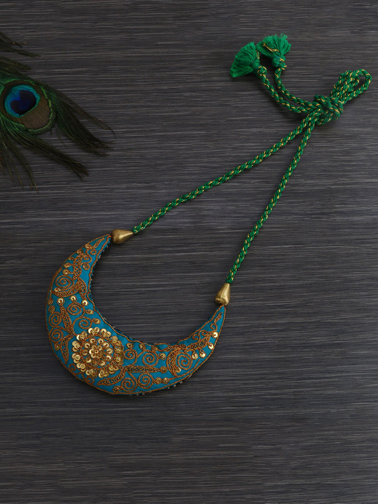 Sea Green Art Silk Thread Hand Crafted Necklace
