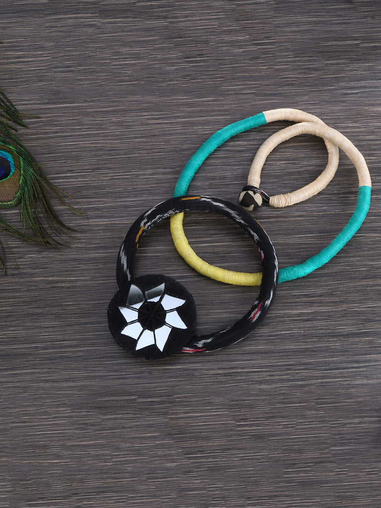 Sea Green Black Mirror Thread Bamboo Hand Crafted Necklace