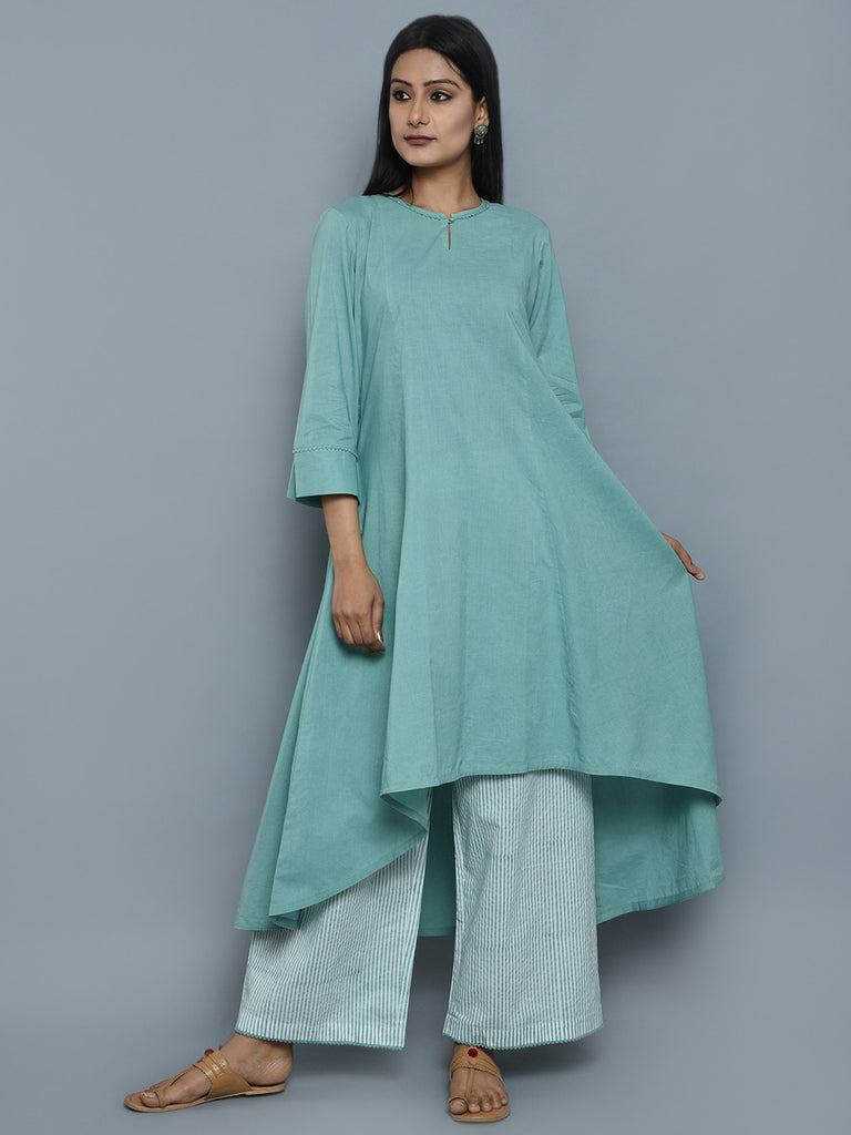 Sea Green Cotton High Low Kurta with Block Printed Palazzo - Set of 2