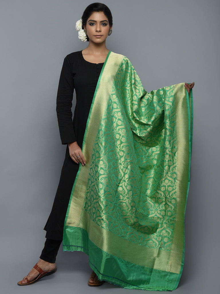 Sea Green Handwoven Banarasi Dupatta