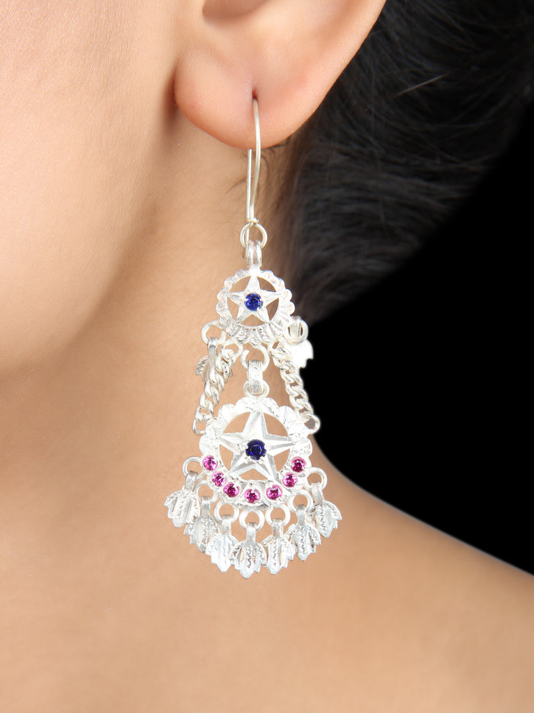 Silver Crystal Beads Handcrafted Earrings