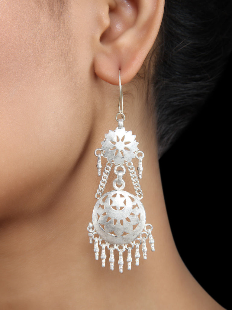 Silver Flower Handcrafted Jhumkies