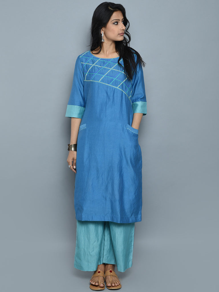 Sky Blue Chanderi Cotton Hand Embroidered Kurta