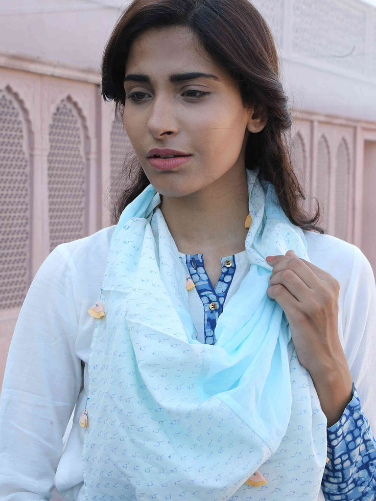 Sky Blue Cotton Block Printed Stole