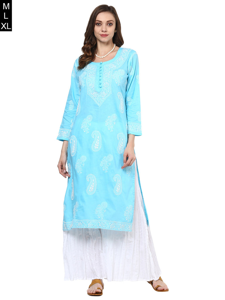 Sky Blue Lucknowi Hand Embroidered Cotton Kurta