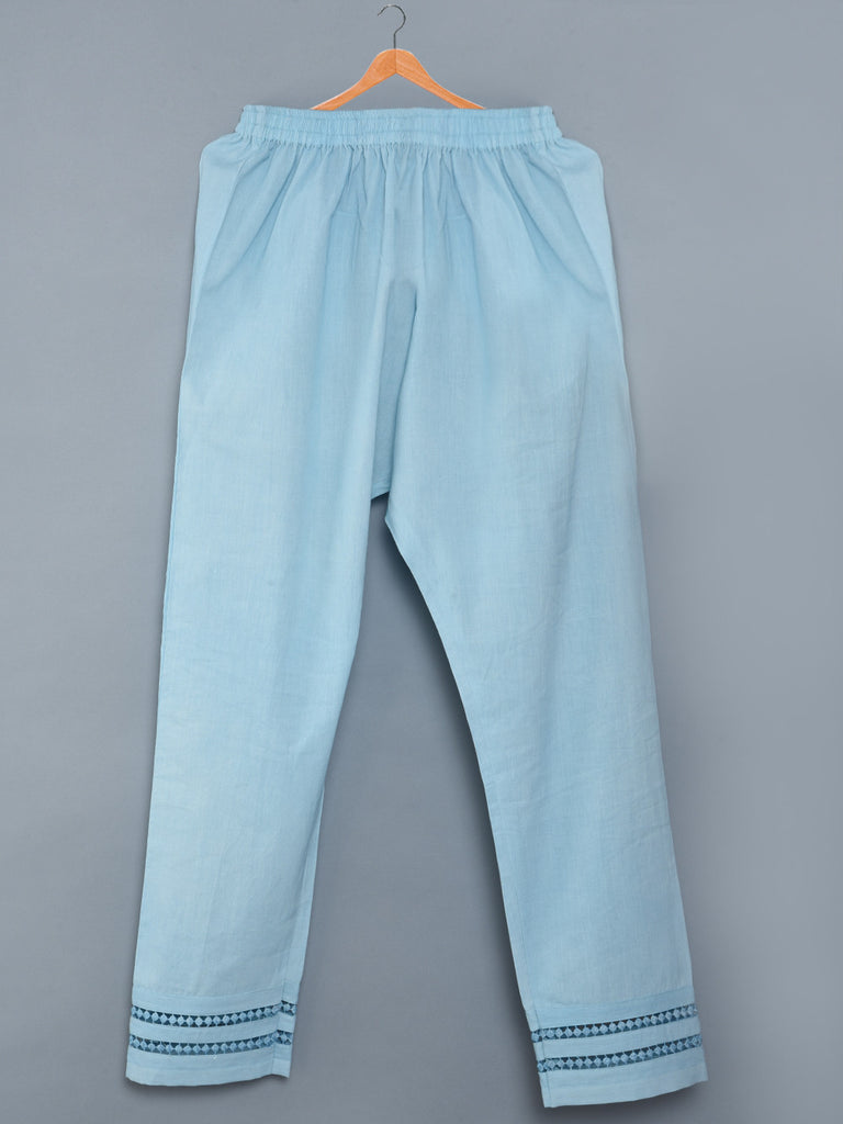 Sky Blue Mulmul Cotton Pants