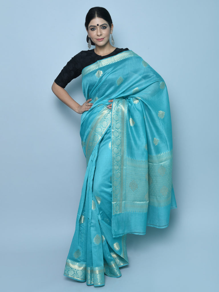 Sky Blue Handwoven Kora Cotton Banarasi Saree