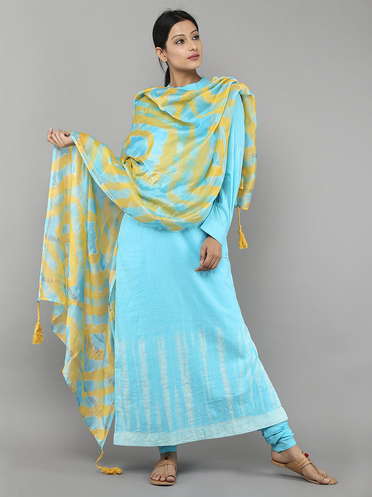 Sky Blue Tie and Dye Cotton Straight Kurti with Churidar and Chanderi Dupatta - Set of 3