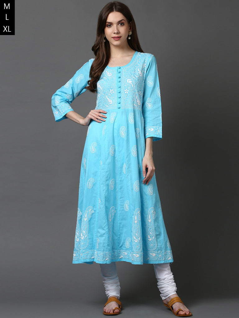 Sky Blue Lucknowi Hand Embroidered Cotton Anarkali