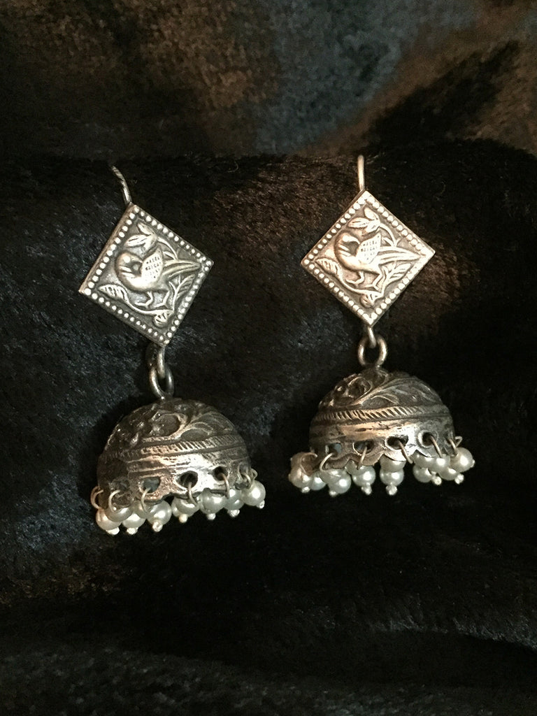 Square Pearl Silver Jhumkies