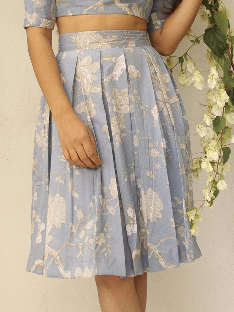 Steel Blue Cotton Box Pleated Skirt