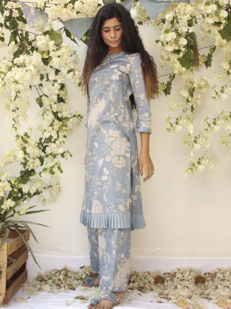 Steel Blue Cotton Printed Kurta and Palazzo - Set of 2