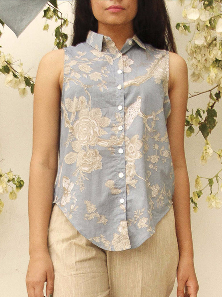 Steel Blue Cotton Sleeveless Shirt