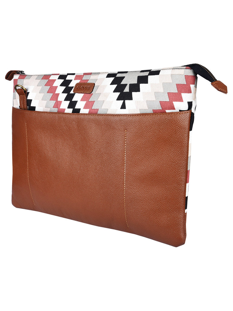 Tan Red Brown Leather Aztec Laptop Bag