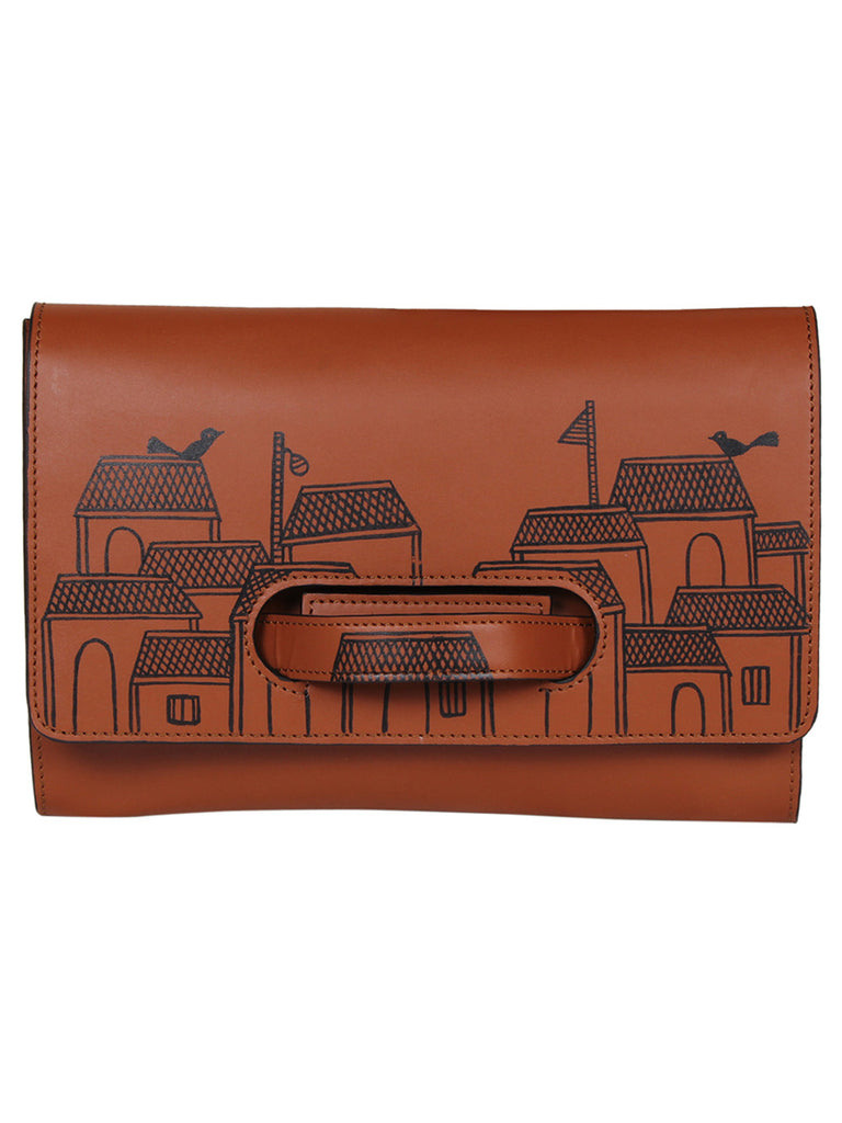 Tan Leather Hand Painted Handheld Envelop Clutch