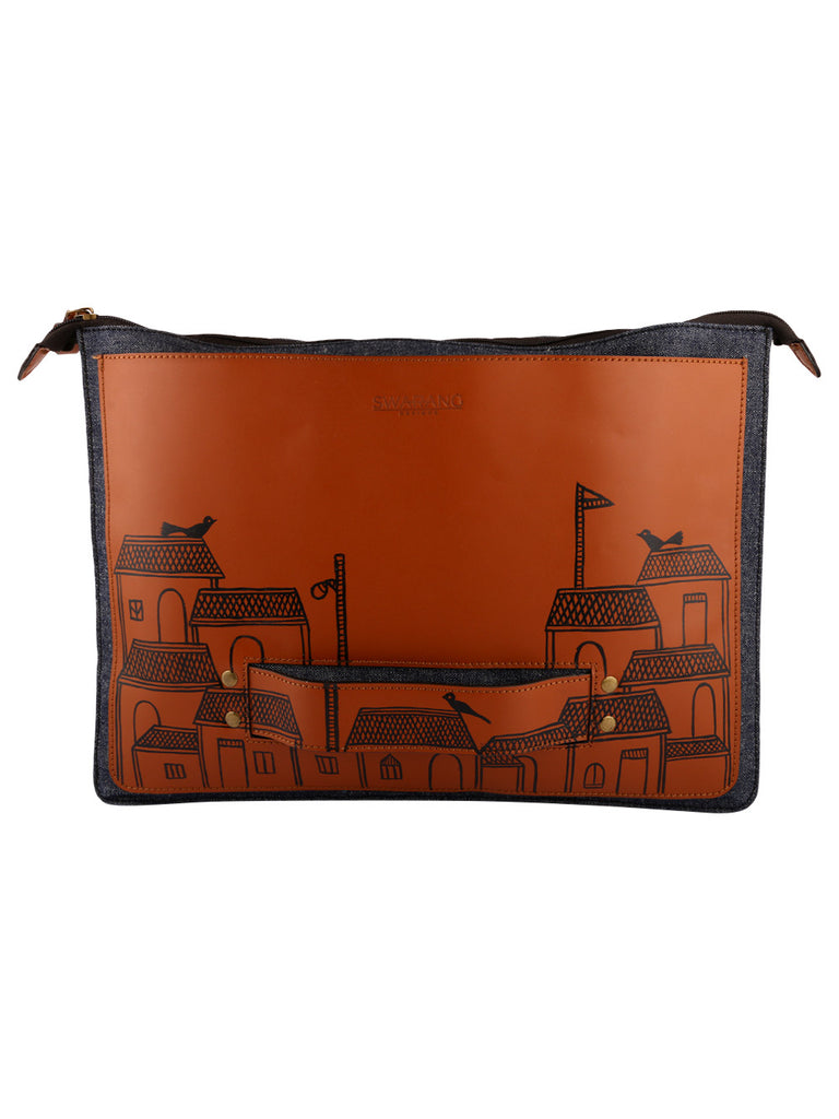 Tan Leather Handheld Laptop Sleeve