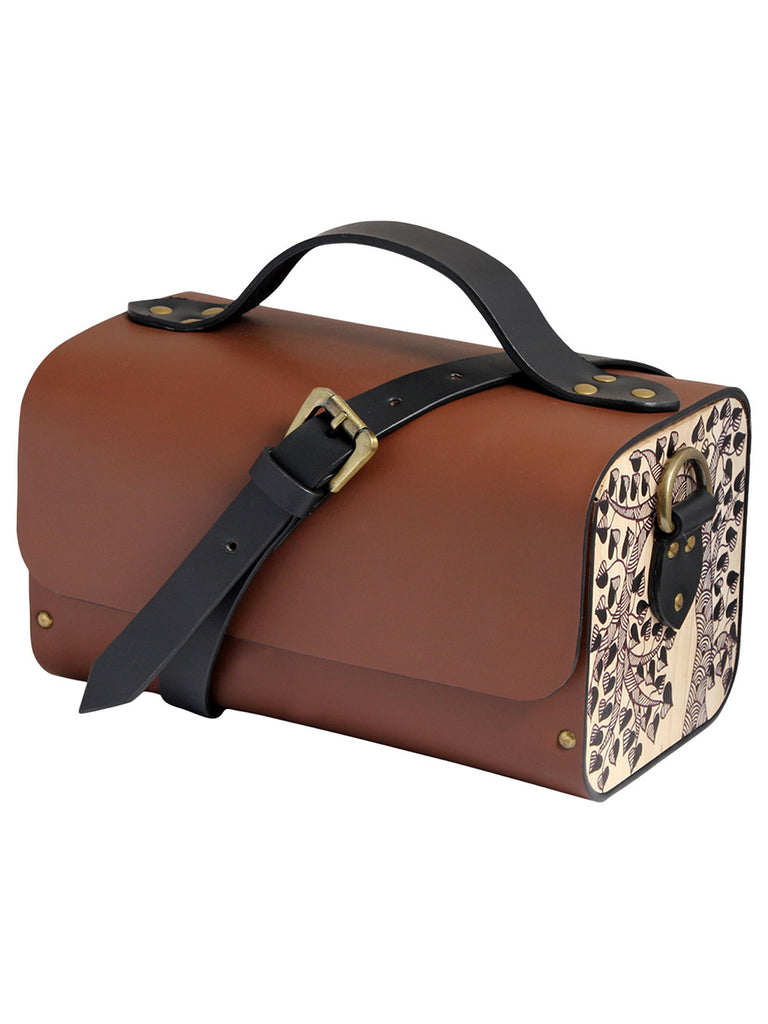 Tan Leather Tool Box Bag