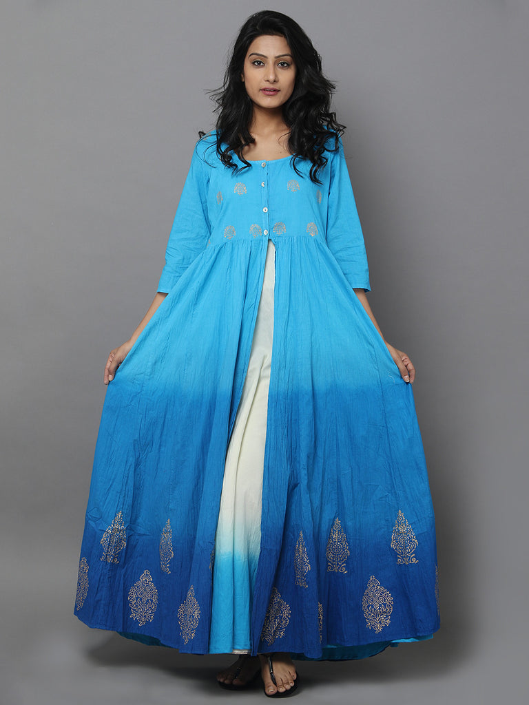 Teal Blue Cotton Anarkali Dress