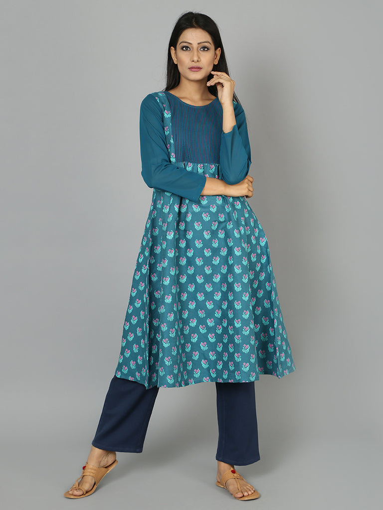 Teal Blue Cotton Linen Anarkali