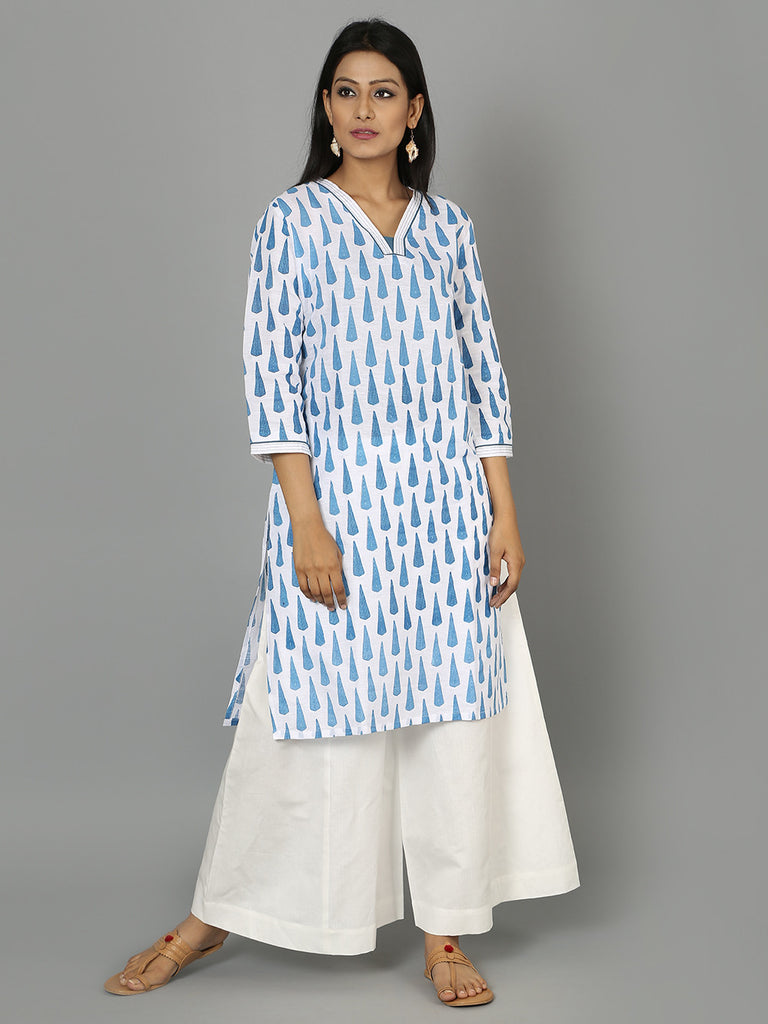 Blue White Cotton Linen Kurta
