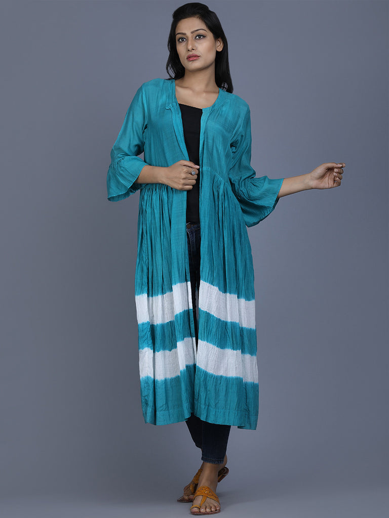 Teal Blue Cotton Silk Batik Cape