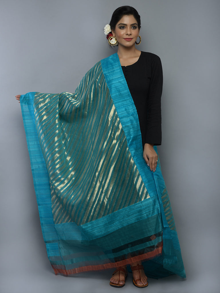 Teal Blue Kora Cotton Handwoven Banarasi Dupatta