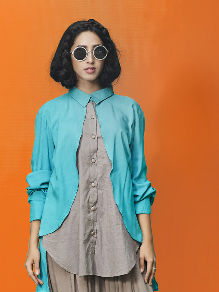 Teal Blue Grey Rayon Cotton Top
