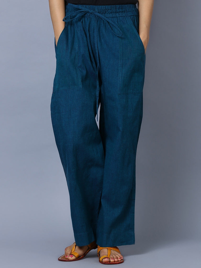 Teal Blue Mangalgiri Cotton Trousers