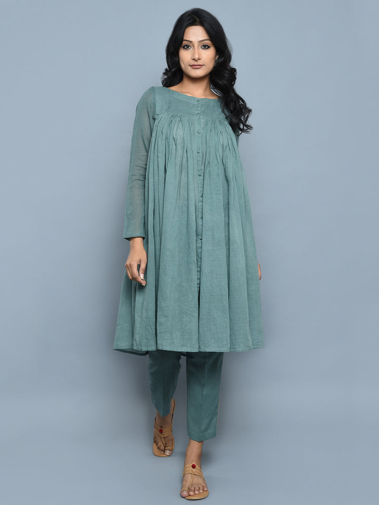 Teal Green Cotton Kedia Style Kurta with Pants - Set of 2