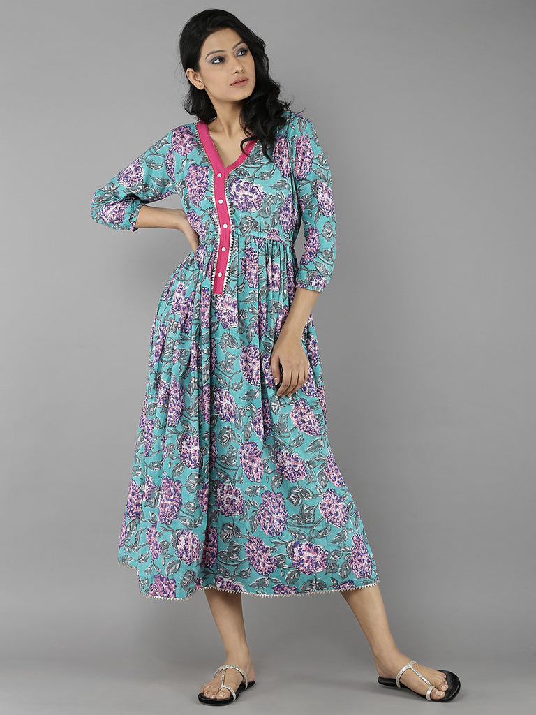 Teal Green Pink Cotton Handblock Printed Dress