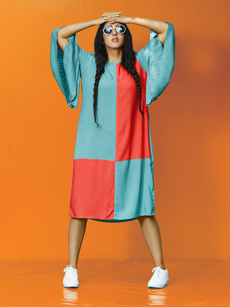 Teal Red Rayon Cotton Midi