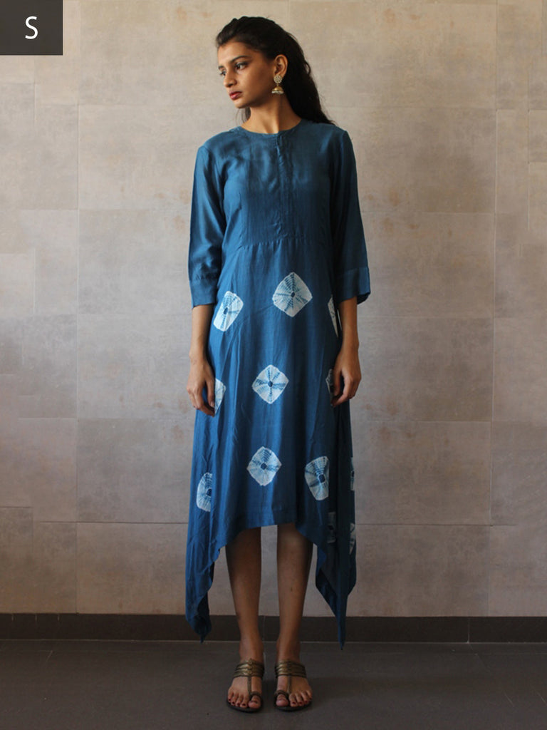 Teal Blue Cotton Mul Asymmetric Bandhej Tunic