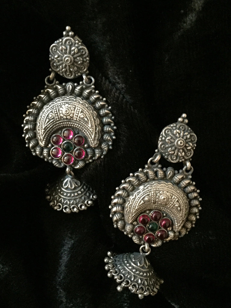 Temple Chand Flower Silver Jhumkies