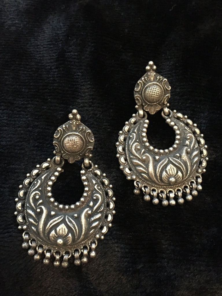Temple Chand Silver Earrings