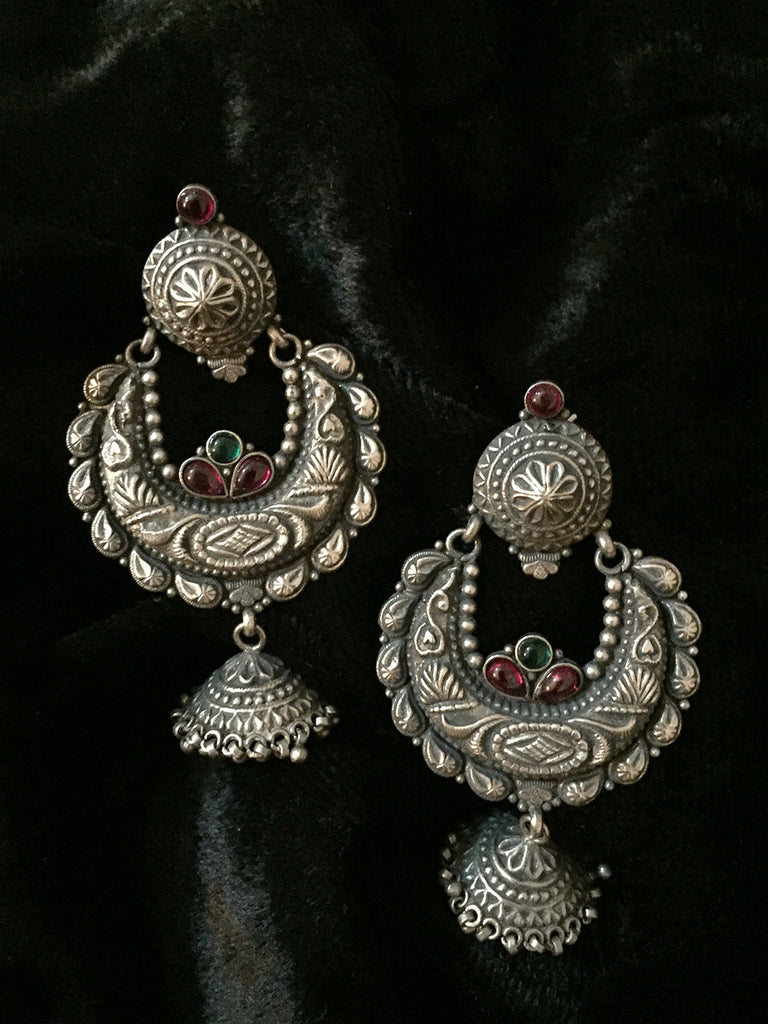 Temple Chand Silver Jhumkies