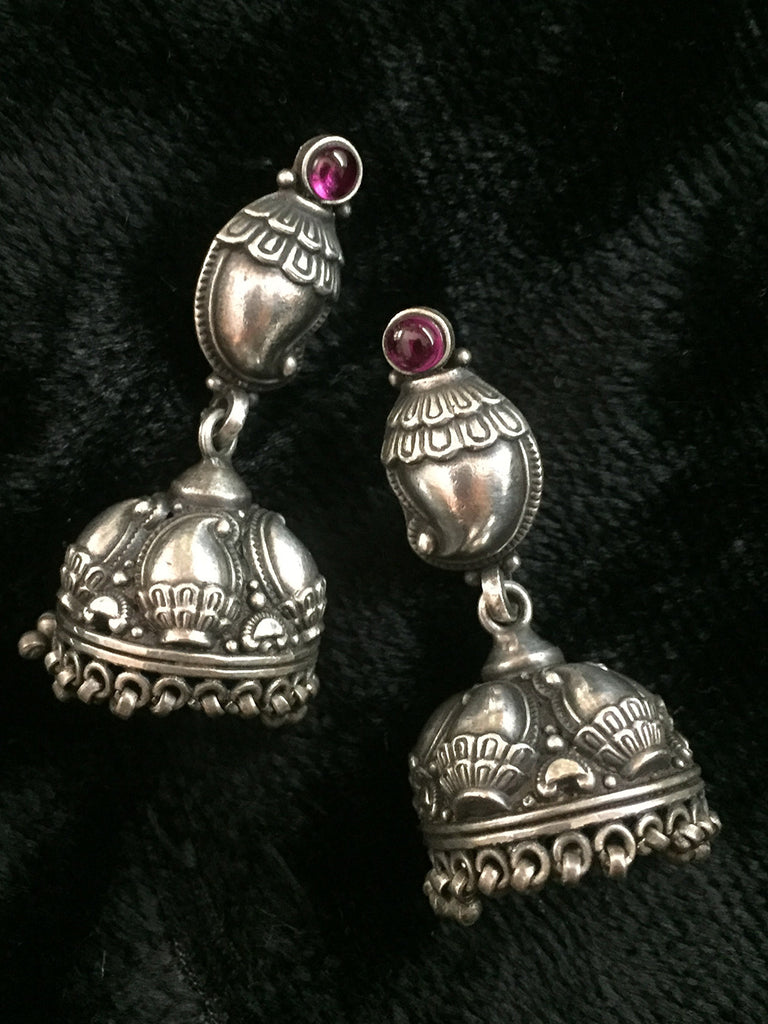 Temple Silver Jhumkies