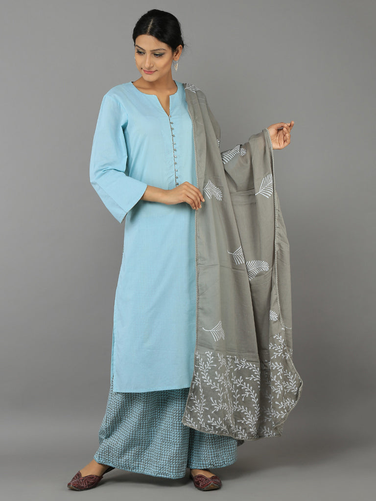Turquoise Blue - Grey Cotton Kurta with Block Printed Palazzo and Dupatta - Set of 3
